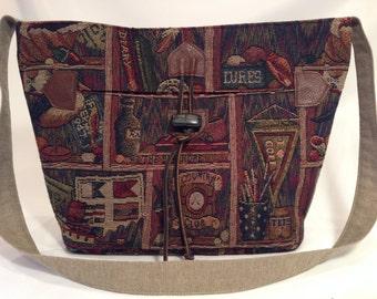 Crossbody tote medium, Rustic tapestry fabric bag, medium cross body, everyday medium bag, fabric designer tote, handmade, pockets, soft