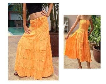 Long Cotton Skirt Dress Gipsy Summer Boho Hippie Floaty Fantasy Smocked Orange