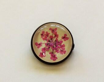 Real pressed flower brooch