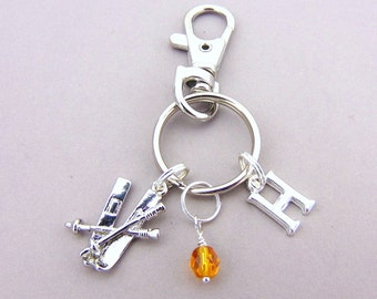 Skiing Bag Charm, Skiing KeyRing, Skiing KeyChain, Snow Sport Gifts, Sporty Clip Keyring, Sporty KeyChain, Skiing Gifts