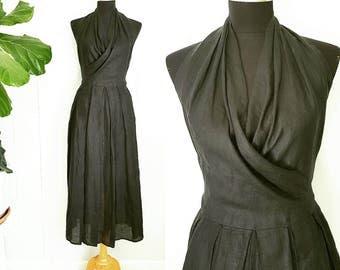 Calvin Klein Black Sheer Linen Halter Dress