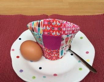 Egg Cosy, Egg Cozy, Egg Warmer, Egg Cozie, Patchwork, Patchwork Egg Cosy, Pink Egg Cosy, Single Egg Cosy, Lined Egg Cosy, Pink Egg Cozie