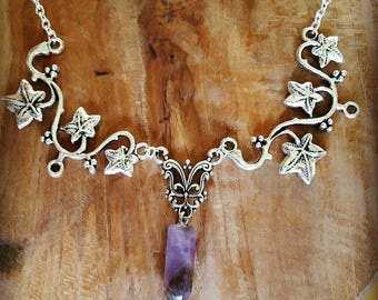 Elven necklace nature real Amethyst.