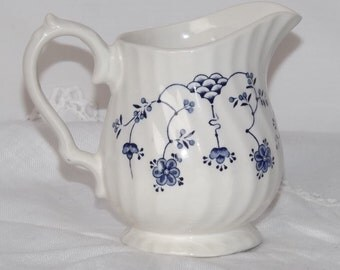 "Vintage Creamer, Myott Finlandia, blue and White Creamer, Made in England,1960's Transferware, About 4"" Tall, Great Gift for China Collector"
