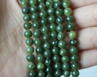 6mm Canadian Jade Rounds, Canadian Jade Beads, Green Jade, Nephrite Jade, Jade Beads, Green Jade Beads, Jade, BC Jade, 6mm Beads,  GS032