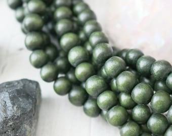 8mm Beads, Dark Green Beads, Wood Beads, Green Wood Beads, Dark Green Wood Beads, 8mm Dark Green, Dark Wood Beads, Green Beads,W013