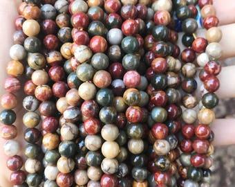 Picasso Jasper, 6mm Beads, Natural Gemstone, High Polished Beads, Earthy Beads, Boho Beads, Gemstone Beads, Jasper Beads, multicolor Beads,
