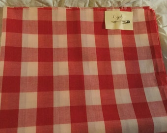 1 Yard Red and White checked material