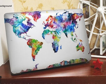 Macbook decal  *~*World(clear background)*~* Macbook Pro Stickers/Mac Decal/Mac Sticker for Apple Laptop/Macbook Pro Air/iPad Air Mini