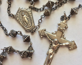 Vintage Estate Sterling Silver Catholic Rosary Beads