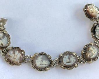 Estate Vintage Sterling Silver Marcasite Carved Mother Of Pearl Cameo Bracelet