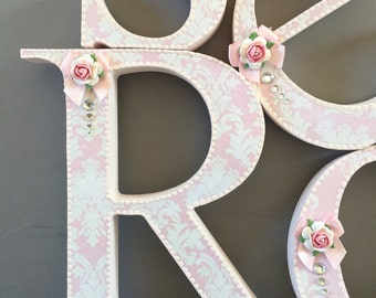 Shabby chic nursery wall wooden letters~free standing shabby chic letters for wall decor~baby shower letters~decorated letters for home