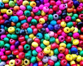 1000 Pcs 6mm Mixed Round Wood Beads Loose Beads Spacer Beads Bracelet Necklace Beads