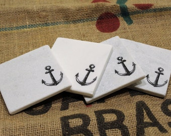 Anchor Marble Coasters, Nautical Coaster Set, Set of Four, Carrara Marble Coasters, Beach Stamped Coasters, Absorbent Tile Coasters