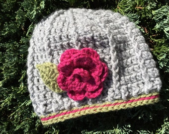 Crochet Hat with flower accent, Made to Order
