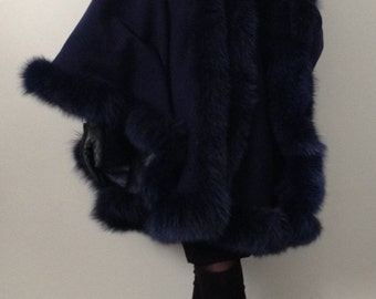 Poncho Cape cashmere hood fox fur trim