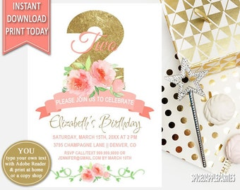 2nd Birthday | Watercolor Flowers, Birthday Invitation, Second Birthday, Watercolor Roses, Printable Invitation, Birthday Party,Hand Painted