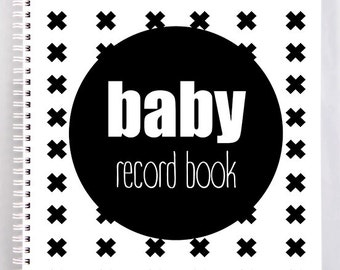 Baby Record Book - Boy - Monochrome Swiss Cross - Basic - DISCOUNTINUED! ON SALE!