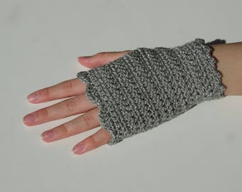 Grey frilly fingerless gloves handmade crochet