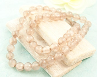 50 x jade beads 8mm strand taupe 40cm bright #3712