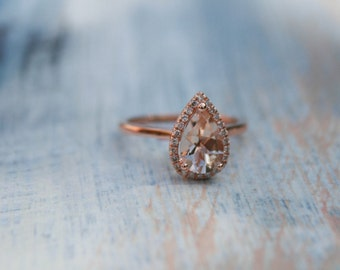Halo Engagement Ring, Diamond Pear Halo Rose Gold Morganite Engagement Ring, Rose Gold Pear Morganite Ring, Diamond Halo Morganite
