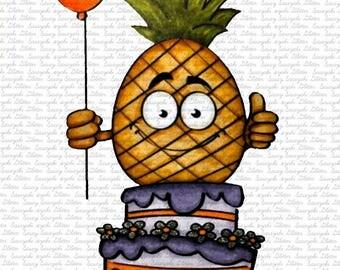Image #58 - Birthday Pineapple - Digital Stamp by Sasayaki Glitter Stamps - Naz - Line art only - Black and White