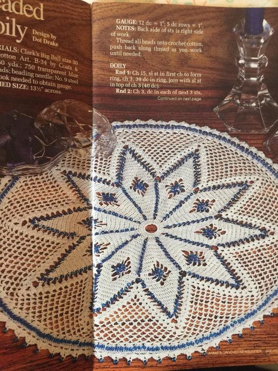 Pdf download  a  vintage 1989 beaded doily pattern only, doily with beads, crochet doily with beads