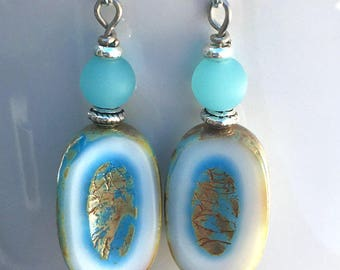 Boho Earrings, Dangle Earrings, Blue Earrings, Unique Earrings