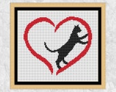 Cat cross stitch pattern, modern cross stitch heart, cat lover gift, pet, easy silhouette design, simple, beginner, black cat printable PDF