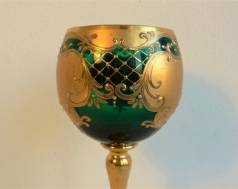 Vintage Murano / Bohemian Gold Gilt Enameled Glasses Goblet wine glass Emerald Green // more available