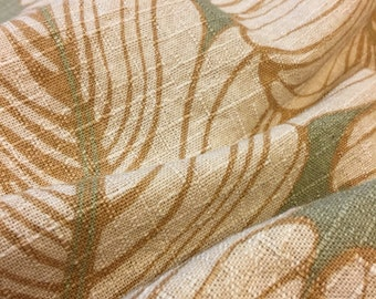 Tropical Upholstery Fabric. 1/2 yd. Palm Leaf Fabric. Tropical Upholstery Fabric. Beige Upholstery Fabric. Linen Fabric. Botanical Fabric
