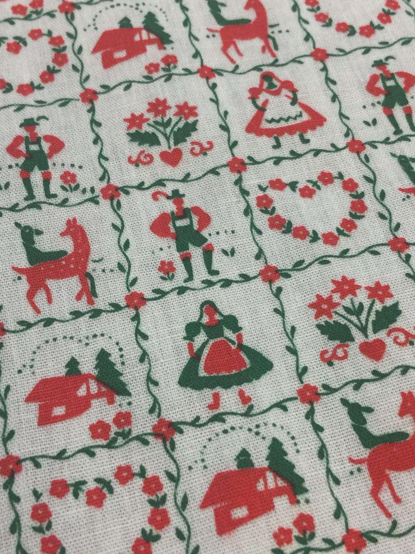 vintage christmas fabric fq christmas fabric vintage bavarian alpine christmas fabric bavarian fabric folklore christmas fabric - Vintage Christmas Fabric