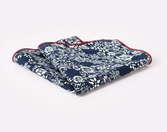 Dark blue floral pocket square | Flower | Groom | Men | Wedding | Handkerchief | Fall | Ideas | gifts |  for him