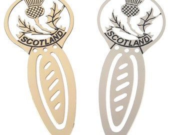 Scotland Thistle Set Of 2 Silver and Gilt Brass Etched Bookmarks & Gift Bag