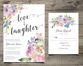 Purple Chic Boho Calligraphy Rehearsal Dinner Invitation, Printable Floral Party Invitation Suite, Bohemian Rehearsal Dinner Party Invite
