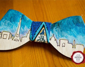 Engraved and painted wood bow tie