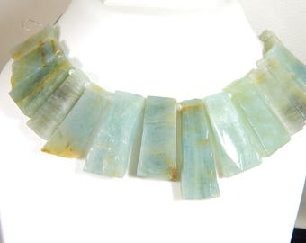 Aquamarine Baguette Beads Trapezoid 100% Natural Gemstone - Size 24x8 To 36x10 mm Approx