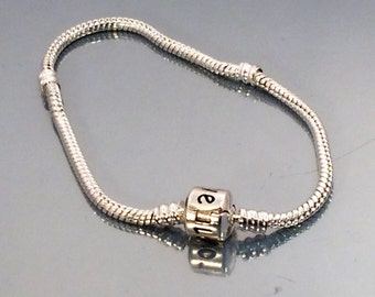 Pandora style 925 silver plated European Charm Bracelet snake chain fit bead 19cm