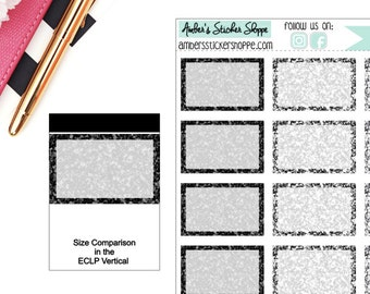 Black and Silver Glitter Printed Half Boxes Stickers Planner