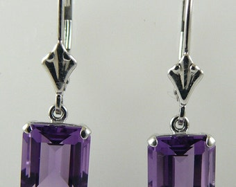 Amethyst Earring 4.53ct 14k White Gold
