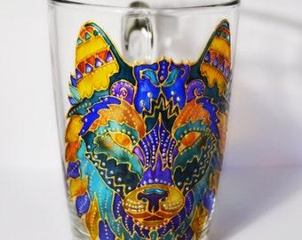 Wolf Mug, Latte Mug, Wolf, Large mug Animal print Wolf, African animal mug