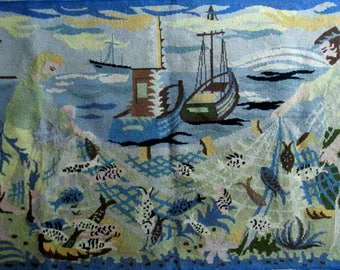 Large French vintage completed needlepoint tapestry Lurçat style modern deco Embroidery Fishermen sea boats Saint John & his nets Aubusson