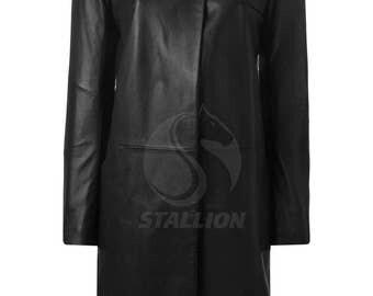 BNWTStallion Women's LAMBSKIN Leather Coat Knee Length ST425