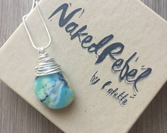 Rare GENUINE extra Large Peruvian Blue Opal from Peru found in the Andes Mountains. Blue Beige Beach Wedding Jewelry. Sterling Silver. OOAK