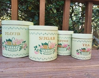 Tin nesting pink green and pink kitchen canisters/canister set -fruit and flowers/floral canister set-retro-shabby chic-kitsch sale!