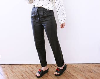 SIZE 2/4 High Waisted Guess Jeans Leather Pants- Black, Small, Tapered 26