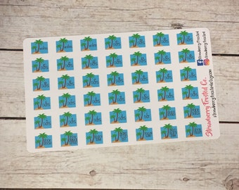 Beach Countdown Planner Stickers- /Personal Size Planner
