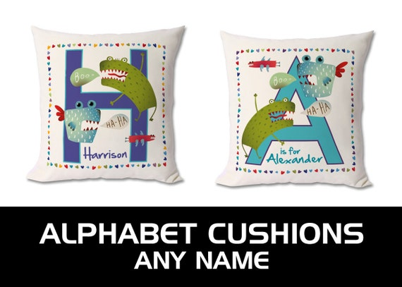 Personalised monsters alphabet / initials / letter cushion. Any Letter / Any Name