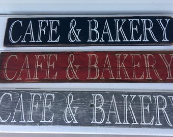 Big Cafe and Bakery Sign, Distressed fence wood, kitchen sign,Multiple colors available
