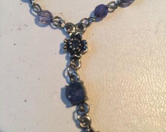 Vintage Costume Silvertone Blue Bead Lariat Necklace - AB